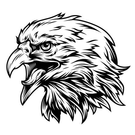 Il concetto di vista laterale della testa dell'aquila dell'annata in stile monocromatico ha isolato l'illustrazione vettoriale