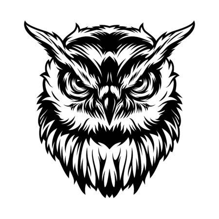 Concept de tête de hibou sérieux vintage en illustration vectorielle de style monochrome isolé Vecteurs