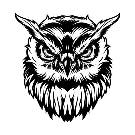 Vintage serious owl head concept in monochrome style isolated vector illustration