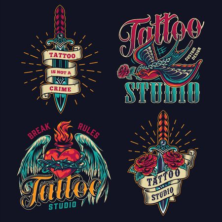 Colorful tattoo studio vintage logos with elegant daggers flying swallow holding rose in beak and fiery heart in barbed wire with angel wings isolated vector illustration Stock Illustratie