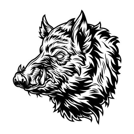 Uitstekend wild zwijnhoofd met slagtanden in zwart-wit stijl geïsoleerde vectorillustratie