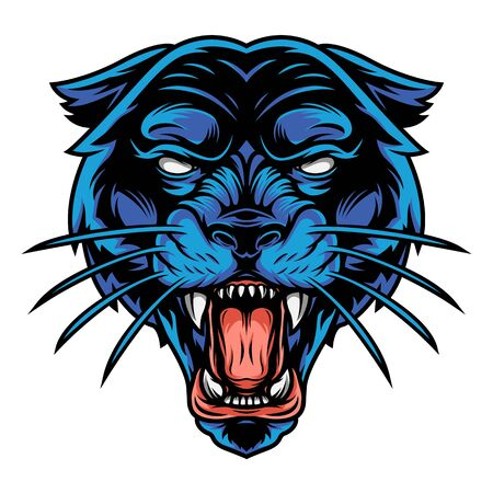 Scary angry black panther head in vintage style on white background isolated vector illustration
