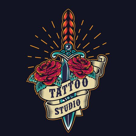 Vintage tattoo studio colorful emblem with elegant dagger roses ribbon and sunbursts isolated vector illustration Illusztráció