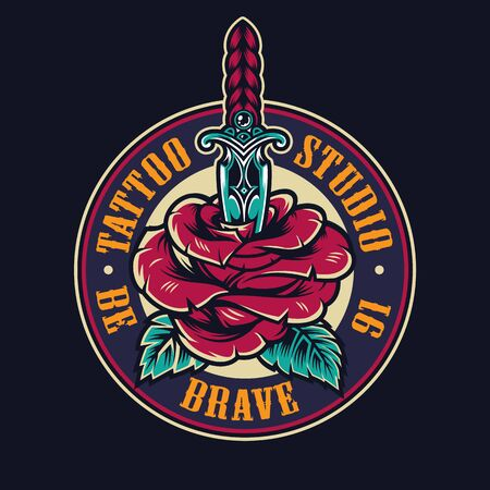 Tattoo studio colorful round logo with blooming rose flower pierced with dagger isolated vector illustration Illusztráció