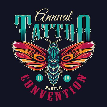 Vintage flash tattoo colorful emblem with beautiful butterfly and inscriptions isolated vector illustration Illustration
