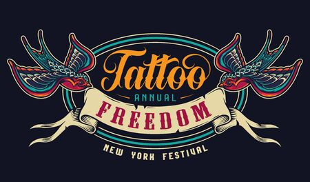 Vintage tattoo salon colorful emblem with flying swallows holding ribbon with Freedom inscription in beaks isolated vector illustration