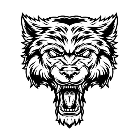 Cabeza de lobo asustadizo enojado monocromo vintage sobre fondo blanco aislado ilustración vectorial