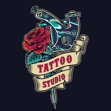 Tattoo salon vintage colorful badge with ribbon around professional tattoo machine and blooming rose isolated vector illustration Illusztráció