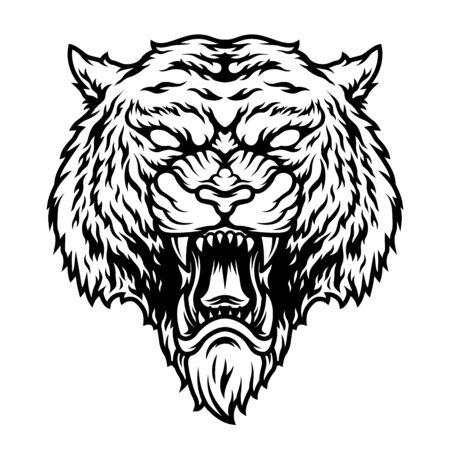 Angry dangerous tiger head concept in vintage monochrome style isolated vector illustration