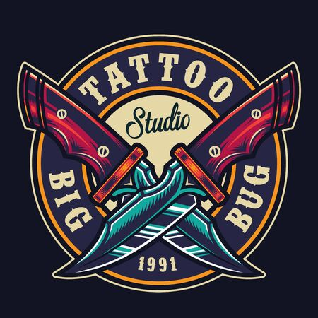 Colorful tattoo studio round print with crossed sharp military knives in vintage style isolated vector illustration Illusztráció