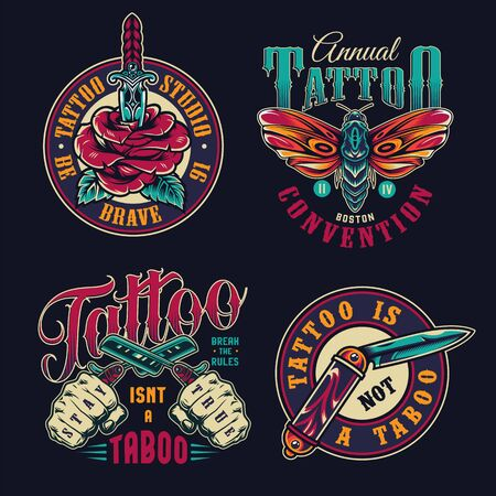 Vintage tattoo studio colorful badges with rose pierced with dagger butterfly pocket knife male hands holding crossed straight razors isolated vector illustration