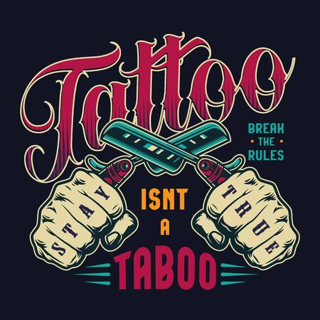 Colorful tattoo salon vintage badge with male hands holding crossed straight razors isolated vector illustration