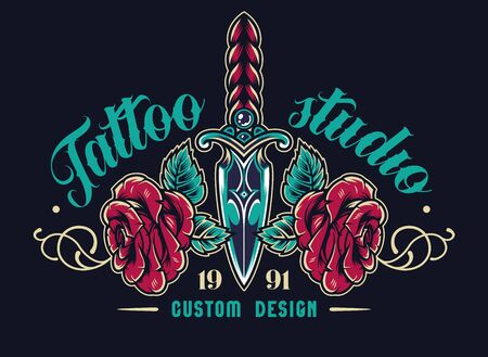Colorful tattoo studio elegant label with beautiful roses and dagger with ornate handle in vintage style isolated vector illustration