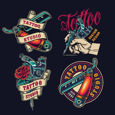 Vintage tattoo salon colorful emblems with straight razors male hand holding tattoo machine rose flower isolated vector illustration