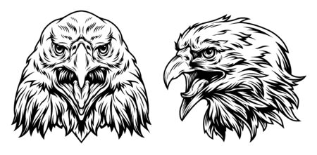Eagle heads front and side views in vintage monochrome style isolated vector illustration Illusztráció