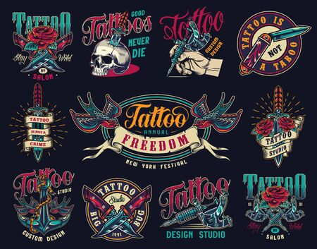 Tattoo studio colorful vintage badges with military and pocket knives skull pierced with dagger tattoo machines ship anchor swallows holding ribbon with freedom word isolated vector illustration Ilustração