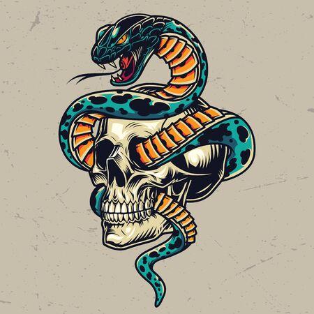 Serpiente entrelazada con el concepto colorido del cráneo en la ilustración de vector aislado estilo vintage