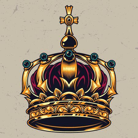 Concept de couronne royale orné coloré vintage sur fond clair illustration vectorielle isolé