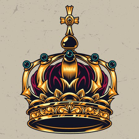 Concepto de corona real adornado colorido vintage sobre fondo claro aislado ilustración vectorial