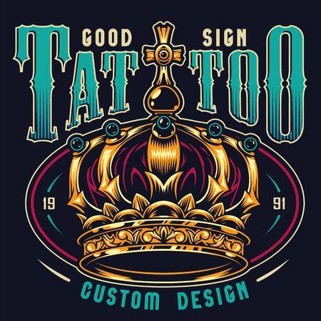 Impresión colorida del estudio del tatuaje del vintage con la corona de oro real adornada en la ilustración aislada del vector del fondo oscuro