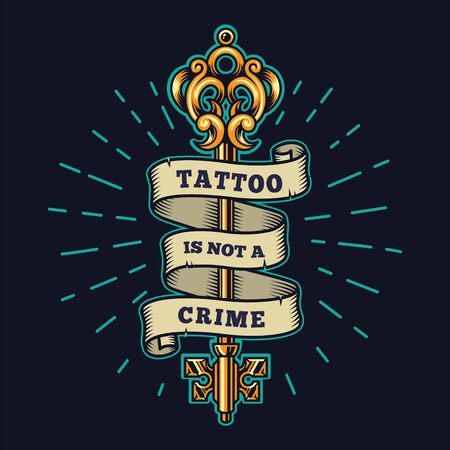 Tattoo salon colorful emblem with ribbon around filigree medieval golden key in vintage style isolated vector illustration Foto de archivo - 131930585