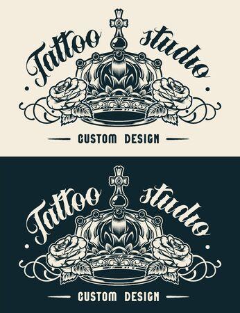 Etiqueta de estudio de tatuaje vintage con corona real y hermosas rosas en estilo monocromo aislado ilustración vectorial Ilustración de vector