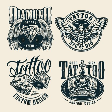 Vintage tattoo studio monochrome badges with butterfly dice royal crown diamond with angel wings isolated vector illustration