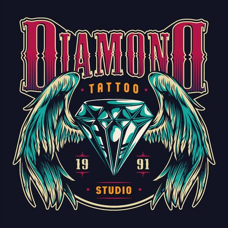 Vintage tattoo salon colorful emblem with shiny diamond with angel wings on dark background isolated vector illustration