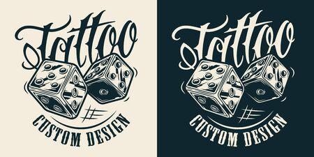 Logotipo vintage monocromatico del salone del tatuaggio con i dadi su sfondi chiari e scuri illustrazione vettoriale isolato