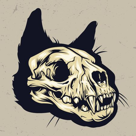 Colorful cat skull concept in vintage style isolated vector illustration