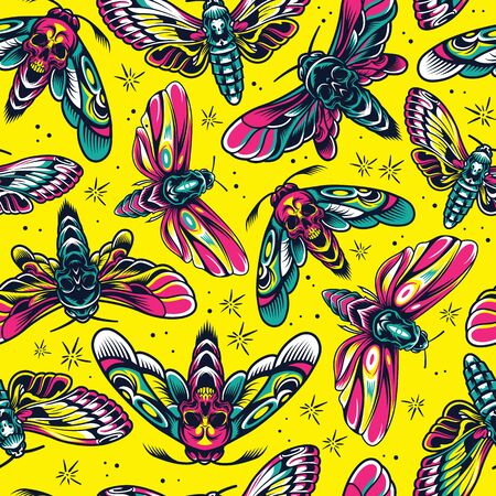 Vintage insects colorful seamless pattern with moths and butterflies with skull silhouette between wings vector illustration