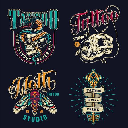 Vintage tattoo studio colorful emblems with cat skull death head moth ribbon around filigree medieval key and snake entwined with skull isolated vector illustration