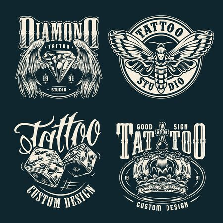 Monochrome tattoo salon emblems set with beautiful butterfly dice royal ornate crown diamond with angel wings in vintage style isolated vector illustration