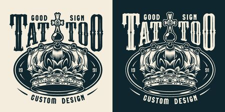 Vintage tattoo studio monochrome emblem with royal ornate crown isolated vector illustration