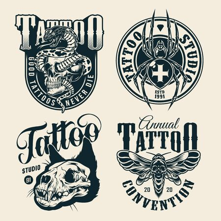 Vintage monochrome tattoo studio labels with snake entwined with skull cross spider spooky cat skull scary death head moth isolated vector illustration