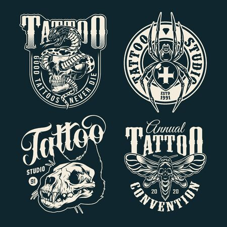 Vintage tattoo salon emblems with cross spider spooky death head moth cat skull and snake entwined with skull in monochrome style isolated vector illustration Ilustração