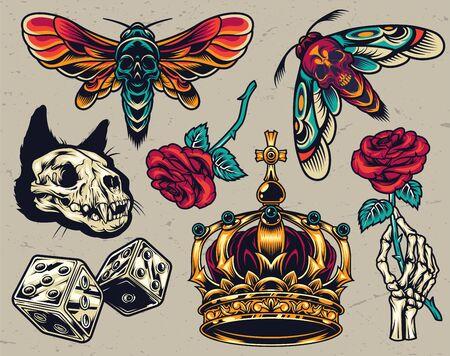 Vintage colorful tattoos composition with cat skull dice ornate royal crown skeleton hand holding rose death head moths isolated vector illustration Ilustração