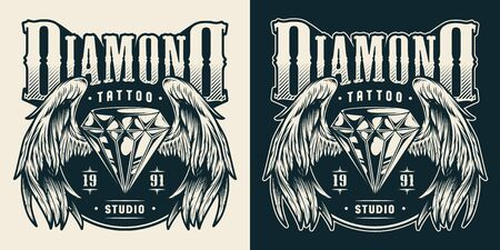 Tattoo studio print with diamond with angel wings in vintage monochrome style isolated vector illustration