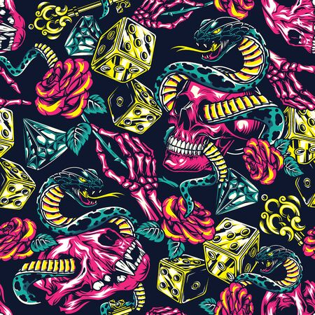 Colorful tattoos seamless pattern with dice skeleton hand holding beautiful rose diamond filigree medieval key snake entwined with human and cat skulls in vintage style vector illustration Ilustração