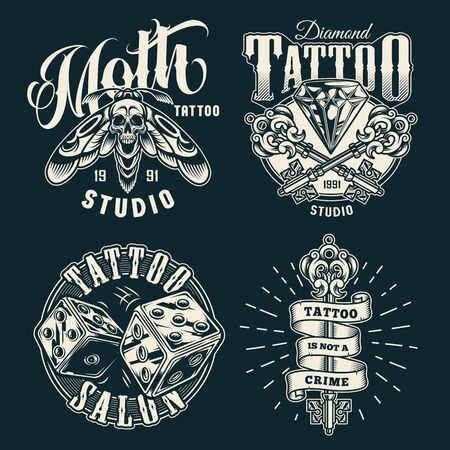 Vintage tattoo studio prints with scary death head moth dice diamond and crossed filigree medieval keys in monochrome style isolated vector illustration Ilustração