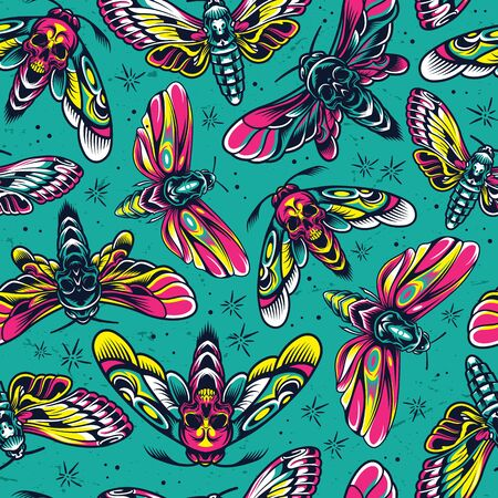 Vintage colorful insects seamless pattern with flying moths and butterflies with skull silhouette between wings vector illustration