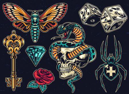 Vintage bunte Tattoos mit Würfel antiken goldenen Schlüssel schöne Rose Schmetterling Diamant unheimliche Kreuz Spinne Schlange umschlungen mit Totenkopf auf dunklem Hintergrund isolierte Vektor-Illustration Vektorgrafik