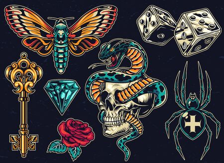 Vintage colorful tattoos set with dice antique golden key beautiful rose butterfly diamond scary cross spider snake entwined with skull on dark background isolated vector illustration Illustration