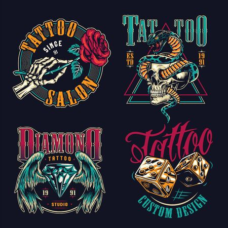 Vintage tattoo studio colorful badges with skeleton hand holding rose golden dice diamond with angel wings angry snake entwined with skull isolated vector illustration Ilustração