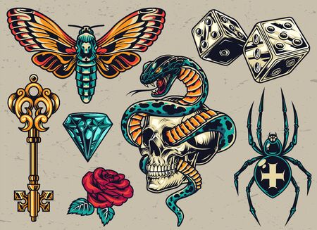 Colorful tattoos composition with medieval golden key butterfly dice cross spider diamond rose snake entwined with skull in vintage style isolated vector illustration Ilustração