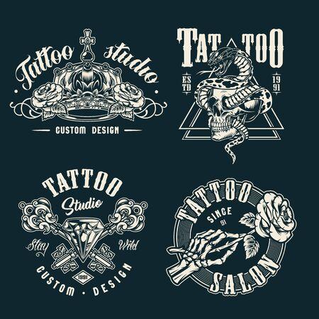 Vintage tattoo studio prints with monochrome style royal crown crossed medieval elegant keys skeleton hand holding rose diamond snake entwined with skull isolated vector illustration Ilustração