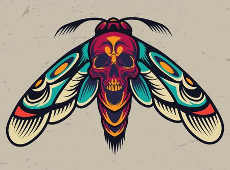 Vintage colorful scary death head moth with skull silhouette between wings isolated vector illustration