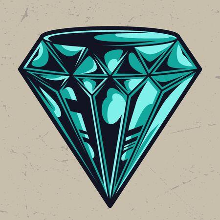 Plantilla de diamante colorido perfecto elegante en estilo vintage aislado ilustración vectorial