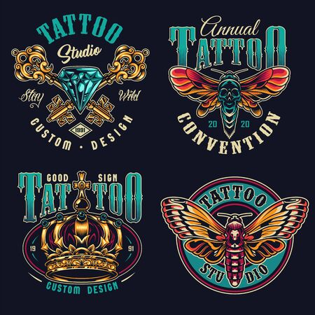 Vintage tattoo studio colorful prints with crossed antique filigree keys diamond ornate royal crown death head moth and butterfly isolated vector illustration