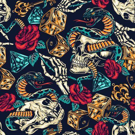Vintage Tattoos buntes nahtloses Muster mit Würfelskelett Hand eleganter mittelalterlicher Schlüssel Rose Blume Diamant Schlange umschlungen mit Menschen- und Katzenschädeln Vektor-Illustration
